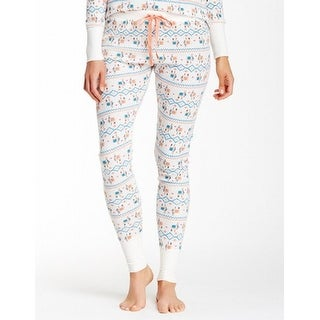 Free Press NEW White Women's Size Large L Printed Thermal Lounge Pants