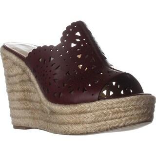 Nine West Derek Wedge Scalloped Sandals, Cognac