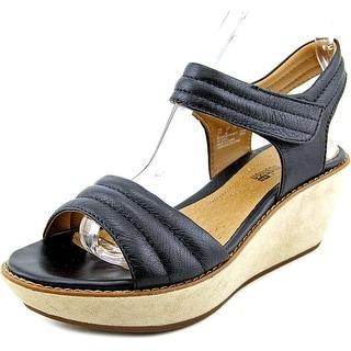 Clarks Hazelle Alba Women W Open Toe Leather Wedge Sandal