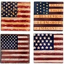 "Palais Dinnerware Ceramic 4"" Square Coasters, Set of 4 (American Flags)"