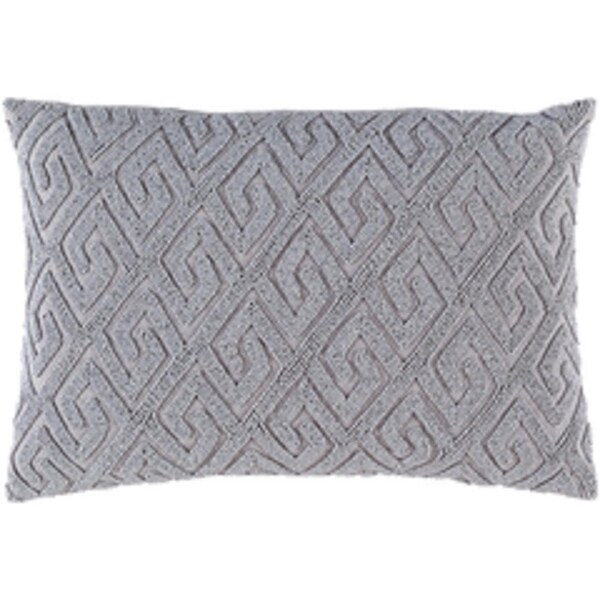 "Cloud Gray Contemporary Textured Woven Decorative Throw Pillow ""13 x 19"""