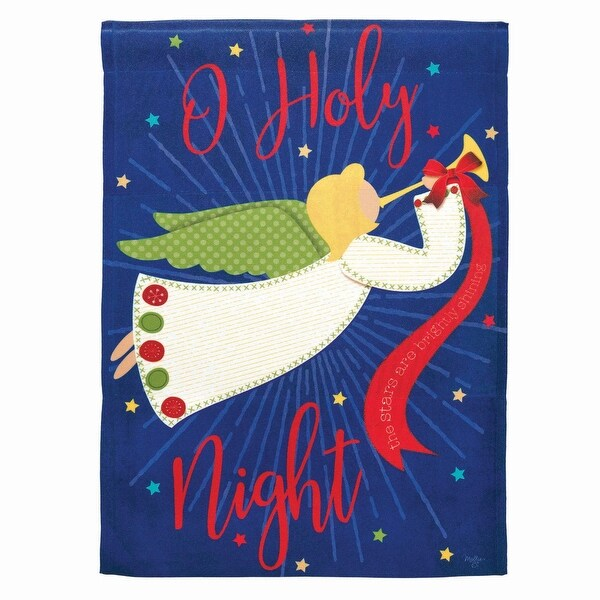 """Purple and White Trumpeting Angel """"O Holy Night"""" Printed Outdoor Garden Flag 18"""" x 13"""" - N/A"""