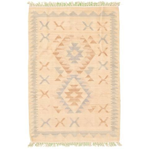ECARPETGALLERY Anatolian FW Cream Wool Kilim - 2'7 x 4'0