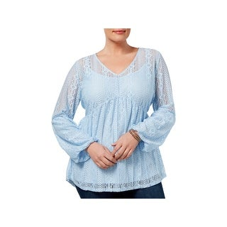 NY Collection Womens Plus Tunic Top 2PC Lace
