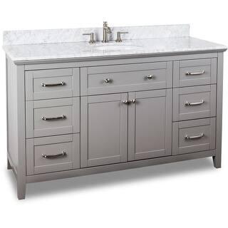 Jeffrey Alexander VAN102-60-T 60 Inch Single Free Standing Vanity Set with Hardwood