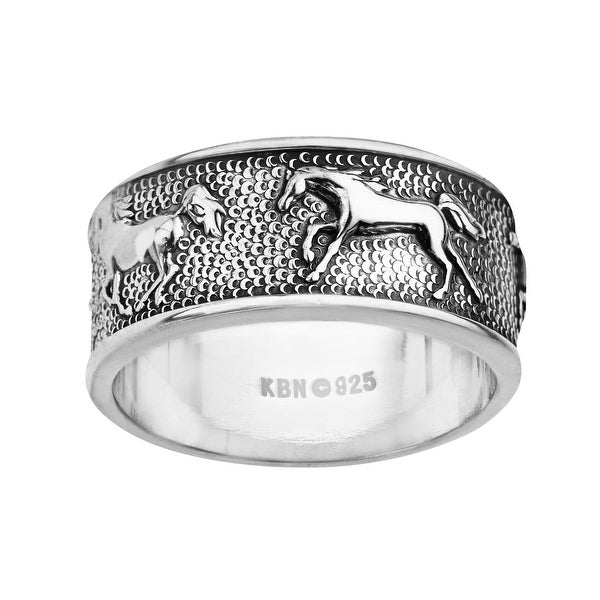 Kabana Horse Ring in Sterling Silver - White