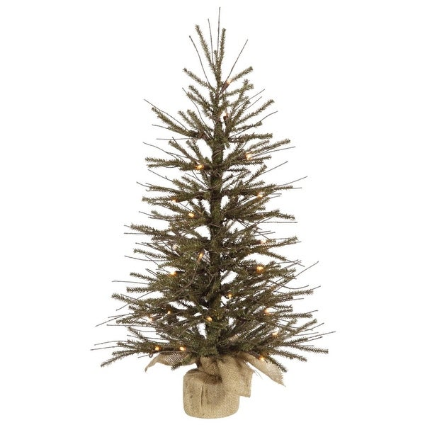 4' Vienna Twig Artificial Christmas Tree with Burlap Base - Clear Dura-Lit Lights - green