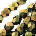 Czech Fire Polished Glass Beads 6mm Round 'Metallic Green' (25) - Thumbnail 0