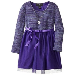Amy Byer Girls Who Done Knit Metallic Long Sleeves Casual Dress - 4