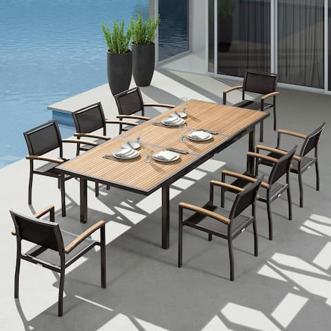 Higold - Heck 9 Pieces Retractable Patio Dining Sets for Outdoor Dining, Grade A Teak, Space Alum, Matte Charcoal, 8 Seaters