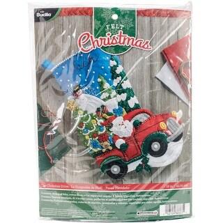 "The Christmas Drive Stocking Felt Applique Kit-18"" Long"
