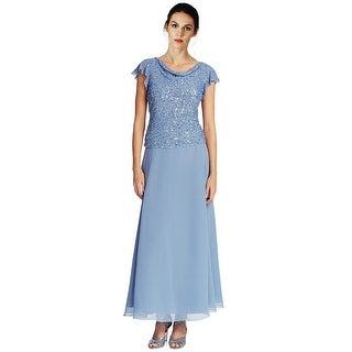 J Kara Embellished Flutter Sleeve Popover Evening Gown Dress - 14