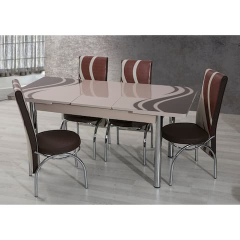 Alexandria Modern Cappuccino-Brown 7-Piece Dining Set