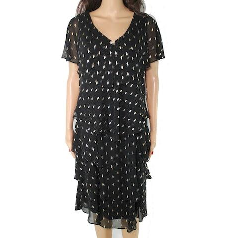 SLNY Women's Shift Dress Black Size 14 Tiered V Neck Flutter Sleeve