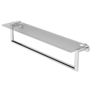 "Ginger 4619T-24 Kubic 24"" Towel Bar with Plain Rosette, and Glass Shelf - n/a (3 options available)"