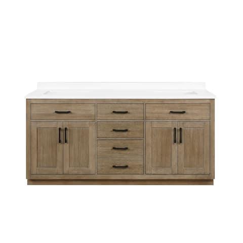 OVE Decors Bailey 72 in. Double sink Bathroom Vanity in Driftwood Oak with Power Bar