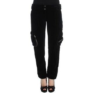 Ermanno Scervino Black Cotton Blend Loose Fit Cargo Pants - it46-xl