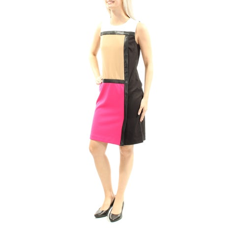 Womens Black Pink Sleeveless Mini Sheath Wear To Work Dress Size: 2XS
