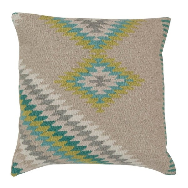 """18"""" Soothing Gray and Lime Green Decorative Throw Pillow - Down Filler"""