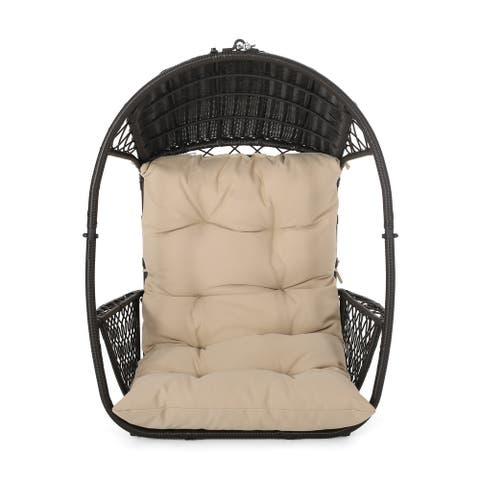 Malia Cushioned Wicker Hanging Chair by Christopher Knight Home