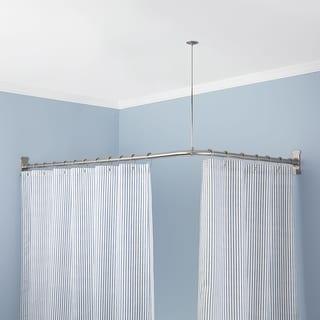 Shop Signature Hardware 913110 72X36 72 X 36 Corner Shower Curtain Rod
