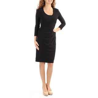 Womens Black 3/4 Sleeve Knee Length Wear To Work Dress Size: 2