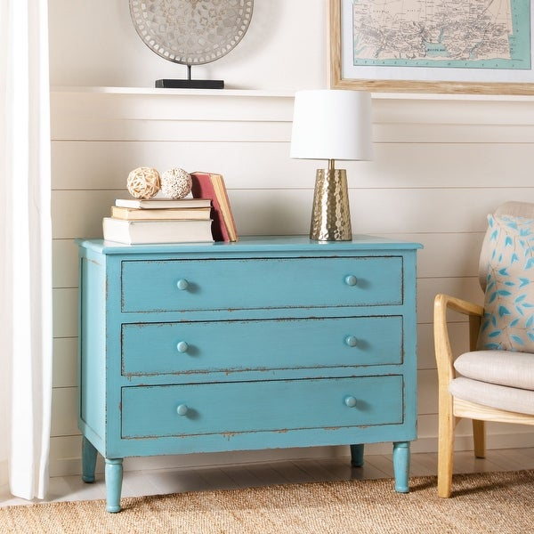 Safavieh Talbet Distressed Blue 3-Drawer Storage Chest. Opens flyout.