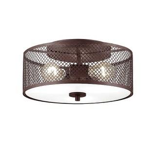 "Millennium Lighting 7363 Akron 3 Light 13"" Wide Semi Flush Drum Ceiling Fixture with Metal Shade"