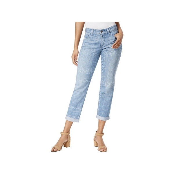 NYDJ Womens Jessica Boyfriend Jeans Medallion Print Light Wash
