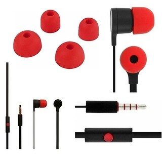 Stereo Headset (3.5mm) for HTC, LG, Huawei phones with Mic -Black/Red