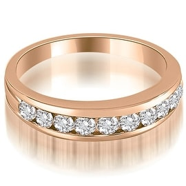 0.60 cttw. 14K Rose Gold Classic Channel Set Round Cut Diamond Wedding Ring