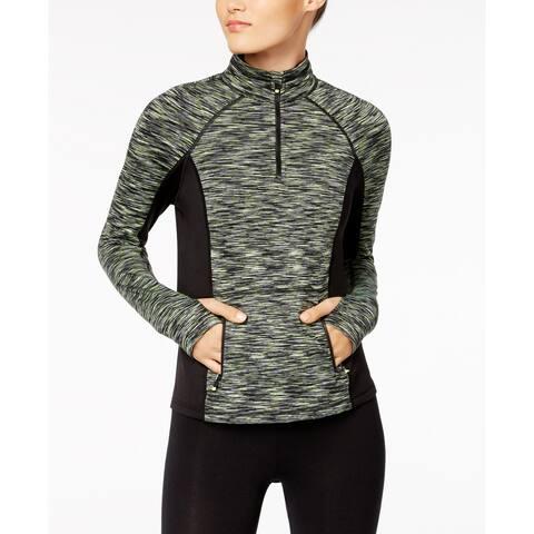 Calvin Klein Women's Space-Dyed Quarter-Zip Top Flashlight Combo Grey Size 2-Extra Large - XXL (18)