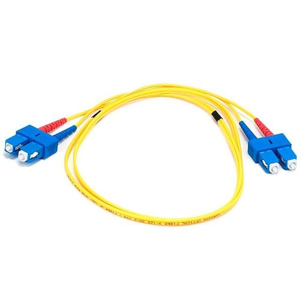 Monoprice Fiber Optic Cable - SC to SC, 9/125 Type, Single Mode, Duplex, Yellow, 1m