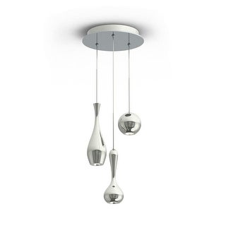 "Modern Forms PD-ACID03R Acid 12"" Wide 3 Light LED Multi Light Pendant with Spun Metal Shades - Grey"