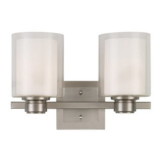 "Design House 556142 Oslo 2 Light 16"" Wide Bathroom Vanity Light with a Clear Out"
