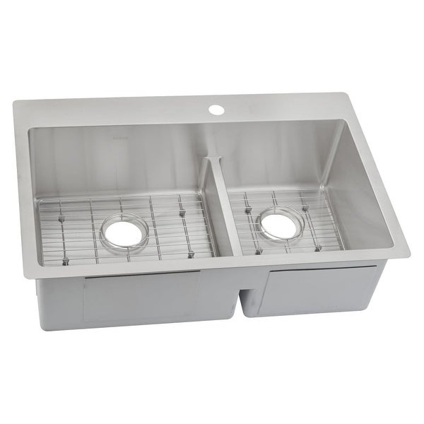 Elkay Ectsrao33229bg Crosstown 33 X 22 Double Basin Stainless Steel Kitchen Sink With Aqua
