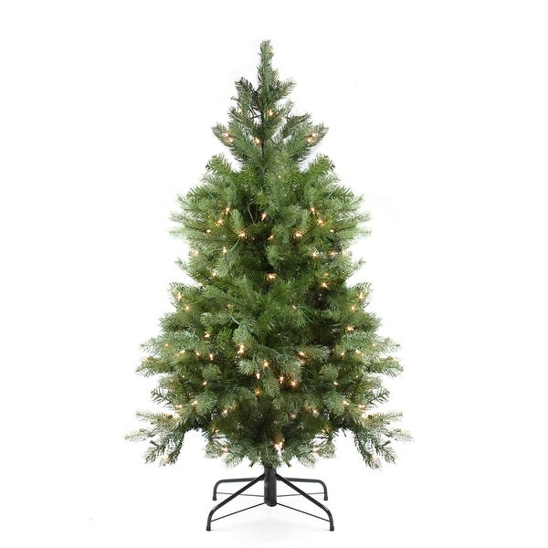 4' Pre-Lit Noble Fir Full Artificial Christmas Tree - Clear Lights - green