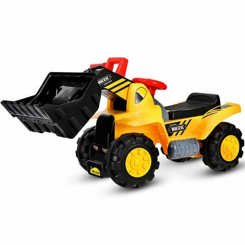 Costway Kids Toddler Ride On Excavator Digger Truck Scooter w/ Sound &