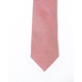 Perry Ellis NEW Red Textured Burgundy Checkered Mens Silk Blend Necktie