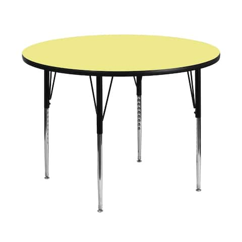 Offex 48'' Round Activity Table with Yellow Thermal Fused Laminate Top and Standard Height Adjustable Legs - N/A
