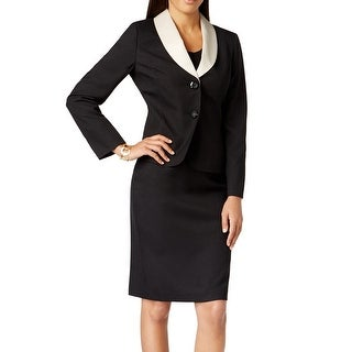 Le Suit NEW Black Womens Size 10 Skirt Suit Contrast-Collar Seamed Set