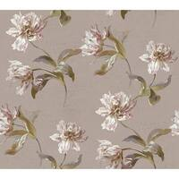 York Wallcoverings GL4707 Pink and Purple Book Large Parrot Tulip Wallpaper - Pearled Lavender/Deep Metallic Gold/Olive - N/A