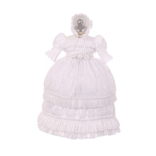 RainKids Little Girls White Shantung Floral Ruffle 3 Pc Bonnet Baptism Gown