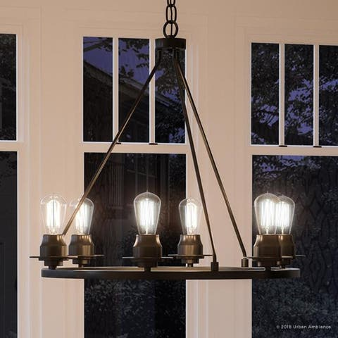 """Luxury Industrial Chic Chandelier, 27.5""""H x 28""""W, with Vintage Style, Charcoal Finish by Urban Ambiance"""
