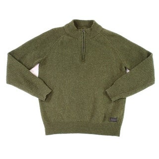 Ben Sherman NEW Green Mens Large L Quarter Zip Ribbed Wool Sweater