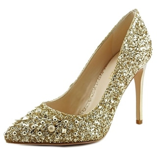 Nine West Elenah Women Pointed Toe Canvas Gold Heels