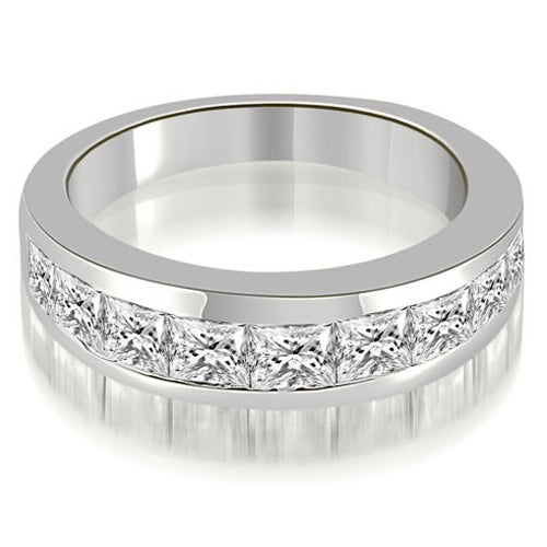 1.80 cttw. 14K White Gold Classic Channel Set Princess Cut Diamond Wedding Band