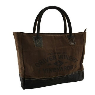 Oriver Winery Print Brown Cotton Canvas Tote Bag w/Leather Bottom & Handles