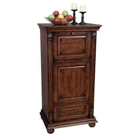 Howard Miller Cognac Small, Slim, Elegant, Vintage Style, Foyer Liquor or Wine Cabinet, Buffet Sideboard, or Media Cabinet
