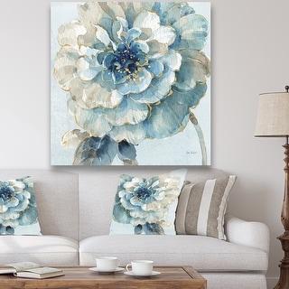 Designart 'Indigold Watercolor Flower II' Farmhouse Canvas Artwork - Grey